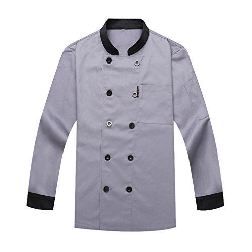 1b0d7b4dd62 WAIWAIZUI Camisa de Cocinero Cocina Uniforme Manga Larga Gris