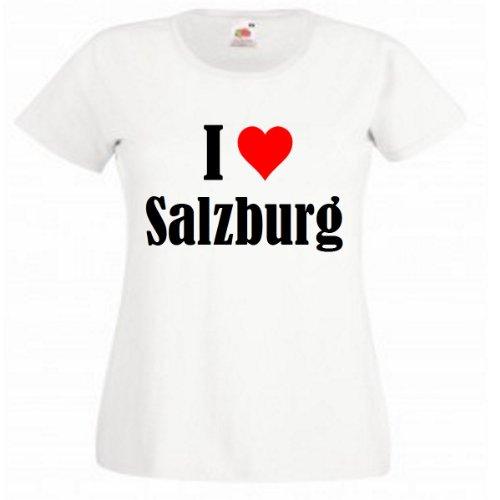 """T-Shirt """"I Love Salzburg"""" für Damen Herren und Kinder in Weiß Weiß"""