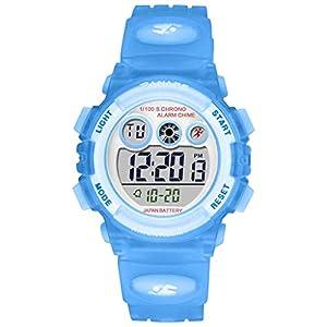 Carrymee Jungen Uhren Hochwertiges Digitalwerk sportuhr 30 m Wasserdicht Armbanduhr mit einem Dornschließe Mode lässig Watch Einzigartiges Design LED Anzeige Sport Armbanduhr