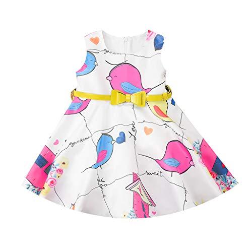 OHQ Baby Mode Karikatur Kleiner Vogel Druck Tanktop Kleid Mädchen locker Bowknot blusen Dress Sommer Säugling Strand Baumwolle Früchte Kleider, 0-24 Monate