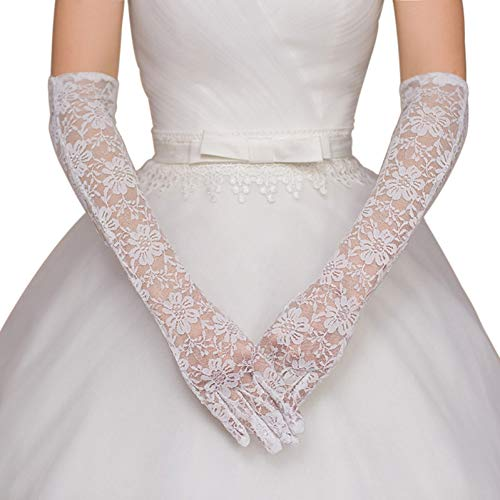 Caowenkang Women Bridal Wedding Dress Gloves Length Full Finger Lace Wedding Accessories Prom Party,Weiß -
