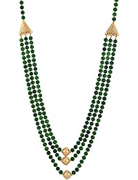 Three Layer Green Shell Pearl Necklace With Gold Polish Beads