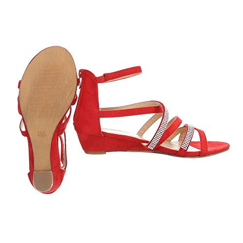 Ital-Design Keilsandaletten Damenschuhe Keilsandaletten Keilabsatz/Wedge Keilabsatz Reißverschluss Sandalen & Sandaletten Rot