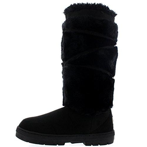 Quentes Sleet Senhoras Alinhou Pele Pom Botas Sapatos De Pretas Do Altura Inverno xg06zg71n