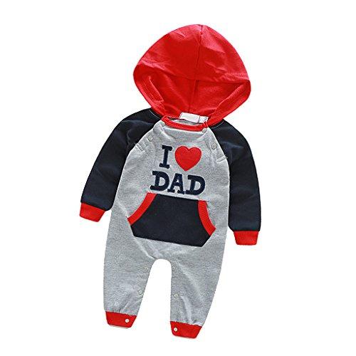 Prettyia Neugeborene Baby Overall Baumwolle Bodysuit Spielanzug Kapuze i Love Dad/Mom - Ich Liebe Papa, 70 -