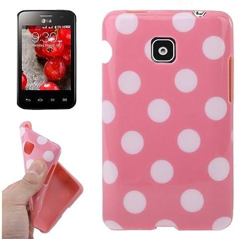 Pink and White Dot Pattern Funda TPU Case Funda Para LG Optimus L3 II E340