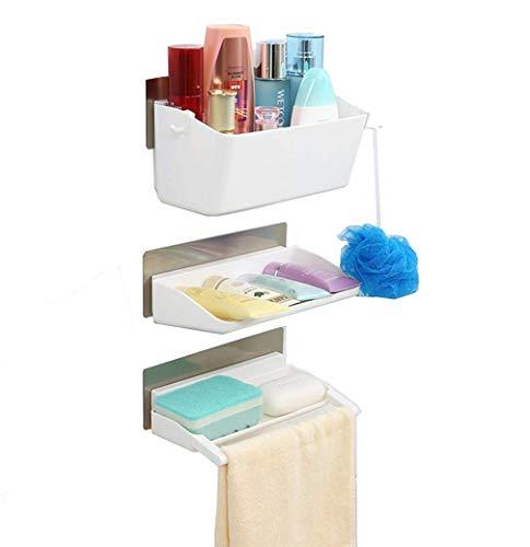 Adoraland Badregal,Kunststoff Badezimmer Duschablage Duschregal,Wandregal,Hängeregal,Küchenregal,Befestigen Ohne Bohren (weiß) (Kunststoff Caddy Weiß Dusche)