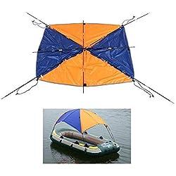 Lixada 4 Personnes Gonflables Bateau Sun Shelter Voilier Auvent Capot Supérieur Pêche Tente Sun Shade Pluie Canopy pour Seahawk Kayak Gonflable Canoe Boat Top Kit avec le Matériel