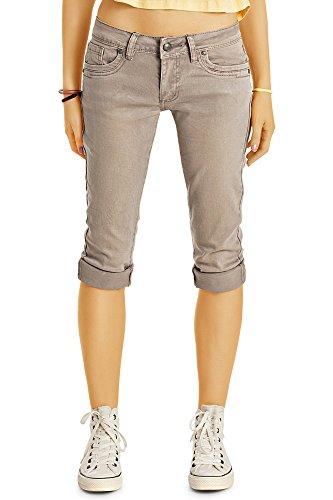 Bestyledberlin Damen Capri-Jeans, 3/4-lange Capri-Hosen, kurze Slim Fit Jeans j30k 38/M (Capri-hosen Unten)