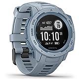 Garmin Instinct - wasserdichte Sport-Smartwatch mit Smartphone Benachrichtigungen und Sport-/Fitnessfunktionen mit GPS, 14 Tage Akkulaufzeit, Hellblau