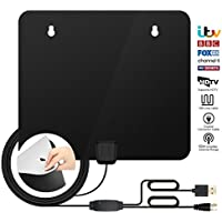 TV Aerial, Indoor TV Aerial For Digital Freeview, Amplified 60+ Miles Long Range Access HDTV Indoor Aerials, New Upgraded Stronger Reception with Booster Amplifier and 10FT High Performance Coax Cable