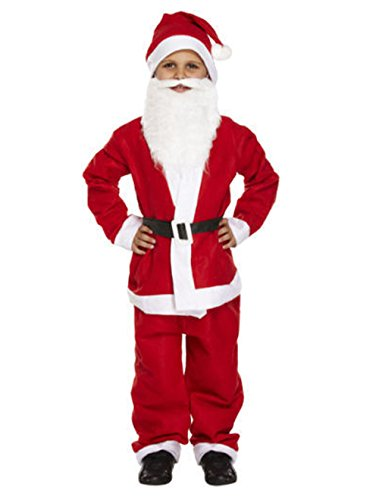 KINDER ANZUG MIT BART SANTA WEIHNACHTSMANN FANCY DRESS KINDER KOSTÜM 4-12 (Top 10 Fancy Dress Kostüm)