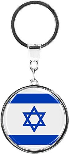 """Premium - Schlüsselanhänger aus Metall """"Israel"""" in runder Form - tolles Geschenk für Israel - Fans"""