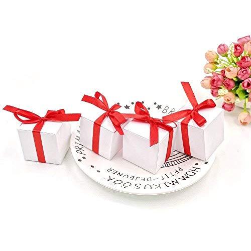 Jzk 50 cubo bianca scatola portaconfetti con nastro rosso scatolina bomboniera segnaposto portariso per matrimonio compleanno laurea natale nascita comunione
