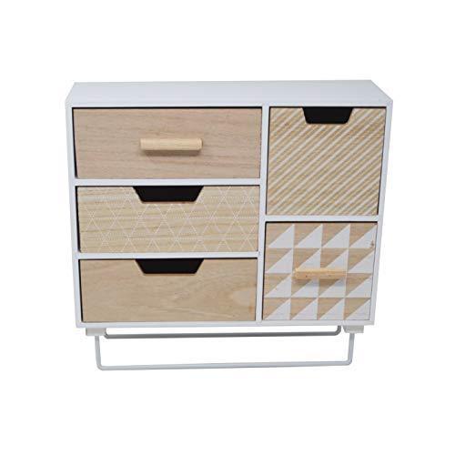 DRULINE Schubladenschrank Mini Kommode auf Standfuß Schubladen Kasten Holz Bunt Shabby Weiß-Natur -