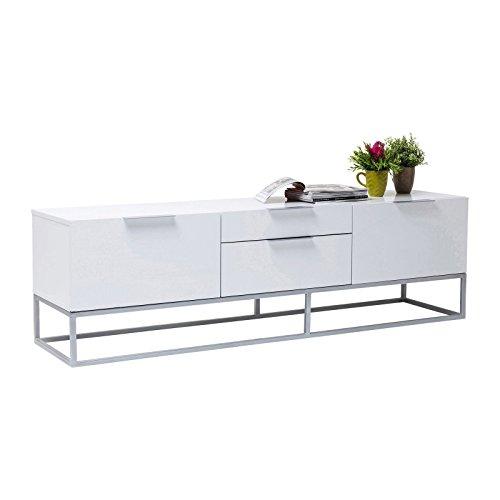 Kare design - Meuble TV design laqué blanc et chrome 2 portes Cloud
