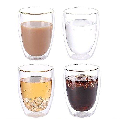 TouchLife Hitzebeständige doppelwandige Isolierglas-Espressotassen Latte Kaffeegläser Whisky...