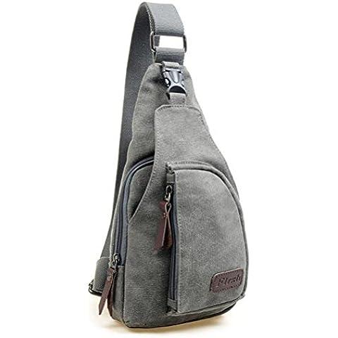Hombres deportes LEORX wsmxdf bolso mochila bandolera desequilibrio - talla L (Gris)