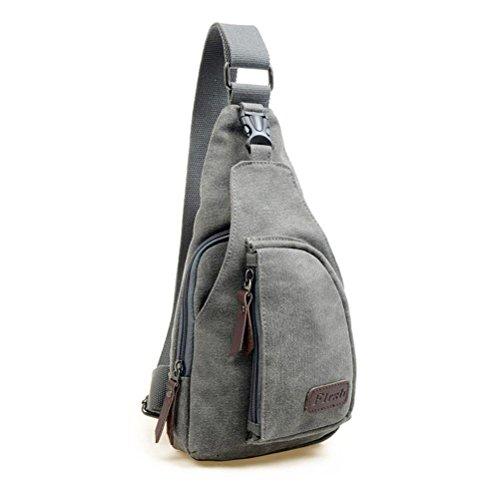 Hombres deportes LEORX wsmxdf bolso mochila bandolera desequilibrio – talla L (Gris)