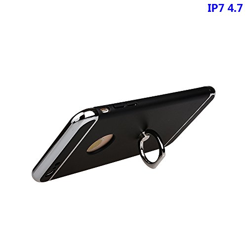 """xhorizon FM8 3 in 1 Ultra Dünn Hart Schützend Stilvoll Case für iPhone 7 [4.7""""] mit 360 Grad Drehbar Ring Ständer (Pink) Schwarz"""