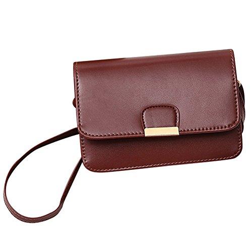 Bhydry moda donna in pelle semplice borsetta crossbody borse a tracolla(20cm*6cm*15cm,marrone)