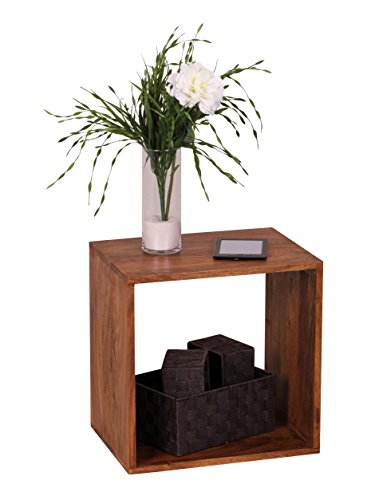 Standregal Massivholz Sheesham 43,5 cm Cube Regal Design Holzregal Naturprodukt Beistelltisch Landhaus-Stil dunkel-braun Wohnzimmer-Möbel Unikat Echtholz Couchtisch viereckig Anstelltisch