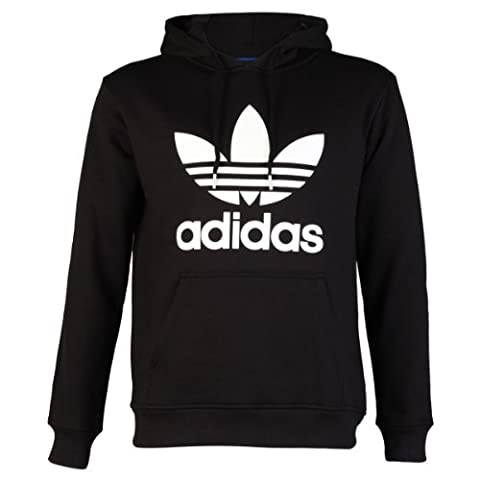 Mens Black/White Adidas Originals Trefoil Logo Hooded Sweatshirt Jumper Hoodie