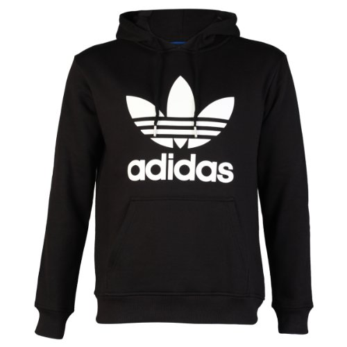 adidas Mens Black/White Adidas Originals Trefoil Logo Hooded Sweatshirt Jumper Hoodie Top Size M