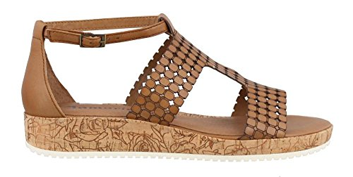 Tamaris 28203-28 440 Damen Sandale Aus Glattleder Laufsohle mit Schimmer-Effekt Braun