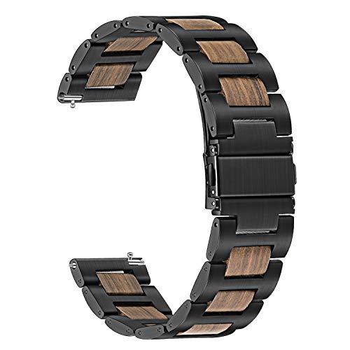 TRUMiRR Kompatibel für Galaxy Watch 46mm/Gear S3 Frontier/Huawei Watch GT Armband,22mm Edelstahl & Natürliches Holz Rotes Sandelholz Uhrenarmband Quick Release Ersatzband für Samsung Gear S3 Frontier