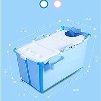 Esperanzaxu Bañera Plegable Plástico Bañera Portátil Bañera De Remojo Inicio SPA Cubo De Ducha For Bebé/Adulto, 91x50x53cm (Color : Blue)