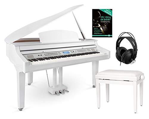 Classic Cantabile GP-A 810 Digitalflügel Set (88 Tasten mit Hammermechanik, 3-fach Sensorik, 1200 Voices, Bluetooth, inkl. Bank, Kopfhörer Schule) weiß Hochglanz