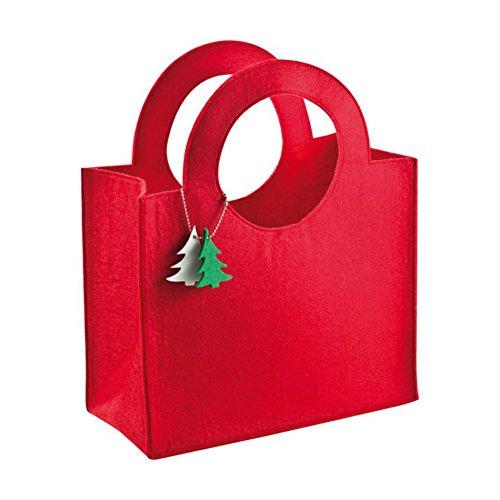 Borsa shopper natalizia in feltro ROSSA, con manici rotondi e portachiavi con alberi di natale
