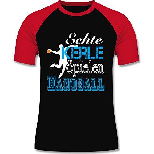Handball - Echte Kerle Spielen Handball weiß - zweifarbiges Baseballshirt für Männer Schwarz/Rot