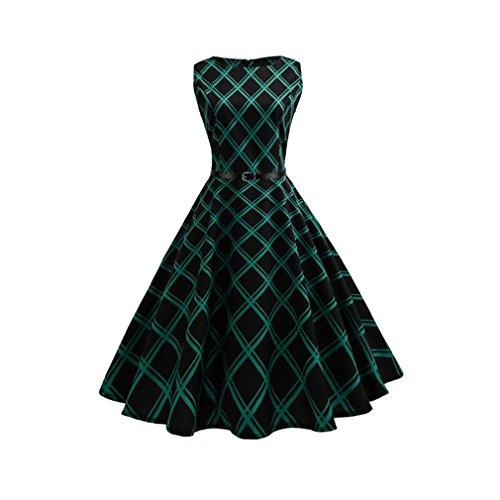 Kleid der Frau Frauen Kleid - Mantel Swing Houndstooth hohe Aufstieg Taille dünne große Schaukel Kleid mit Gürtel Weihnachtsfeier Cocktail und Formale Party (Größe : M) Houndstooth Swing