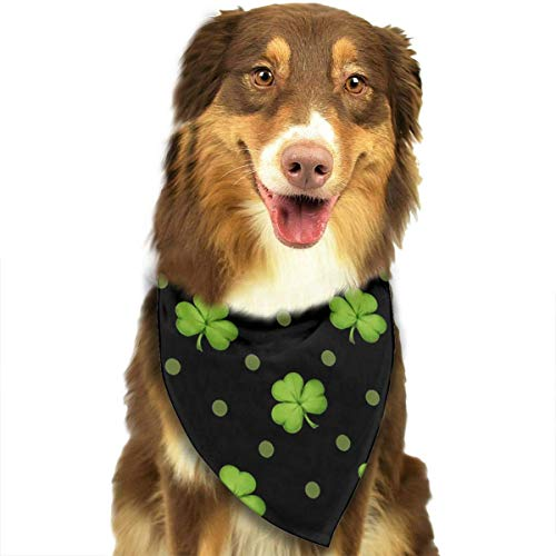 Hipiyoled St. Patrick's Day Lucky Shamrocks schwarzes Haustier-Kopftuch-Dreieck Lätzchen Schals Zubehör 27,6 x 11,8 Zoll