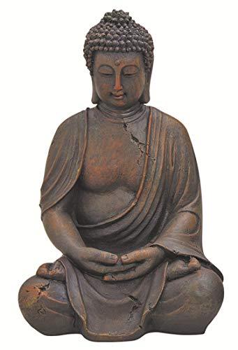 WOMA Deko Buddha Figur Sitzend aus Wetterfestem Polyresin, Dekoration für Haus, Wohnung und Garten, 38cm hoch, Skulptur für Innen und Außen, Braun