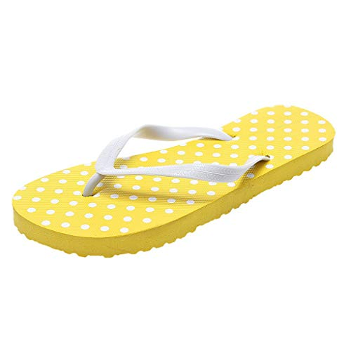 Flip Flops Frauen Mädchen Strandschuhe Sommer Zehentrenner Punkt Strand Flipflops rutschfeste Badelatschen Pantoffel Beiläufige Schuhe Bade Sandalen, Gelb, 37 EU