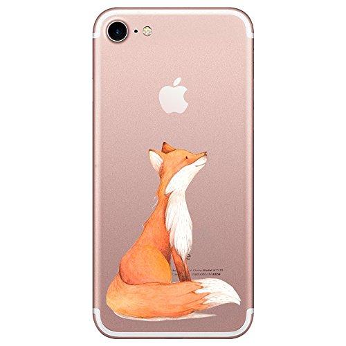 Caler iPhone 7 Hülle iPhone 8 Hülle Transparent Ultra Slim Gel TPU Weiche Flexible Durchsichtig Silikon Kratzfeste Schutzhülle in Qualität Fuchs Case für Dein Smartphone iPhone7 iPhone8 (Fuchs)