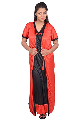 6d5baae4af Buy Fashigo Women s 2 Piece Black-Red Satin Nighty (Free Size) at ...