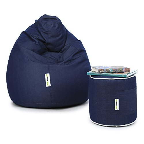 Can XL Denim Bean Bag and Round Pouffe with Beans (Blue)
