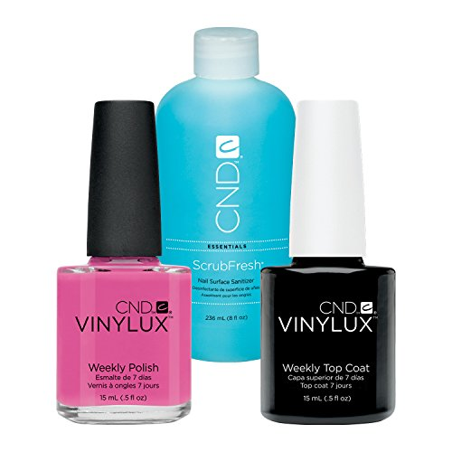CND Vinylux Hot Pop Pink plus Top Coat 15 ml plus Scrub Fresh 236 ml, 1er Pack (1 x 0.266 l) (Top X 2 Scrubs)