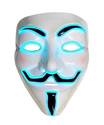 Inception Pro Infinite Maske für Kostüm - Verkleidung - Karneval - Halloween - Anonym - Helle LED - Blau - Erwachsene - Unisex - Frau - Mann - Jungen - V wie Vendetta