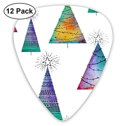 Cavdwa Gitarrenplektren, nahtlos, Weihnachtsmuster, mit Aquarellfarben, 12 Stück, 0,96 mm, 0,71 mm, 0,46 mm, modisch für Gitarre, Bässe und E-Gitarre