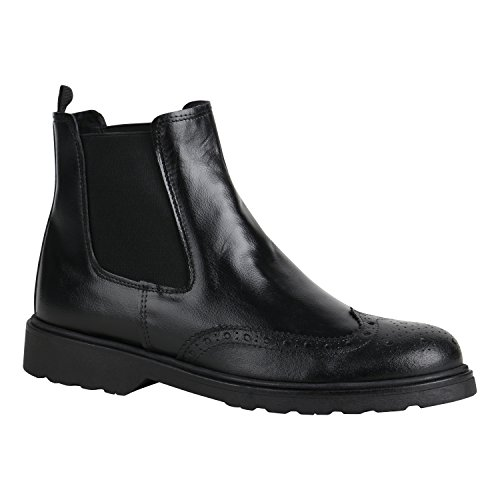 Stylische Herren Schuhe Chelsea Boots Business Stiefel 155963 Schwarz Brito 42 Flandell