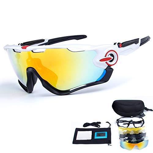 Occhiali da sole sportivi polarizzati toptetn occhiali da ciclismo con protezione uv400 con lenti intercambiabili multiuso per ciclismo, baseball, pesca, sci, corsa