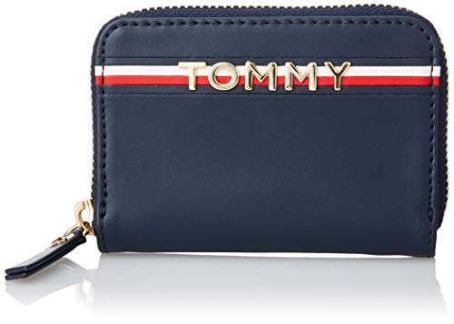 Classic Leather Classic Wallet (Tommy Hilfiger Damen Corp Leather Mini Za Geldbörse, Blau (Tommy Navy), 8x2.5x12.5 cm)