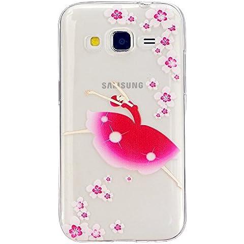 TKSHOU Accessorio Caso Case Cover TPU Silicone per Samsung Galaxy Core Prime SM-G360 Custodia Conchiglia Trasparente Antigraffio Antiurto Protezione Cellulare Bello Dipinto - Danza Indossando una ragazza gonna rossa