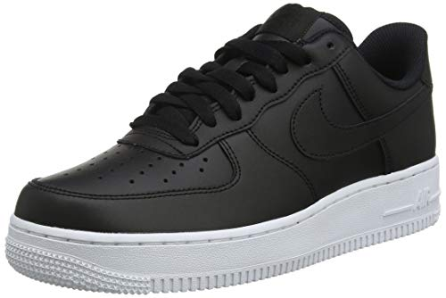 reputable site f5173 5c4ef Nike Mens Air Force 1 07 Leather Black White Trainers 8 US