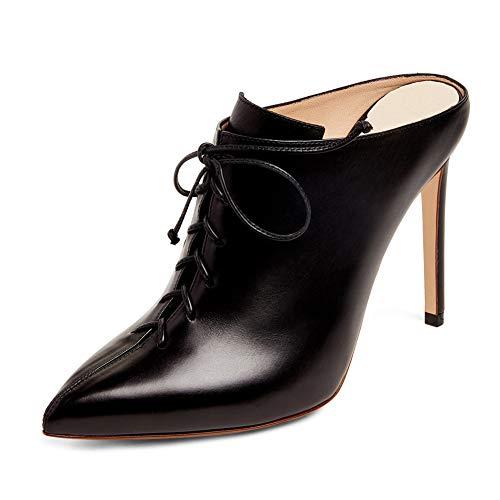 Stiletto High Heel Riemchen Spitze Zehe High Heels,MWOOOK-413 Klub Party Freizeit Hochzeit Abendschuhe Shoes,Black,45